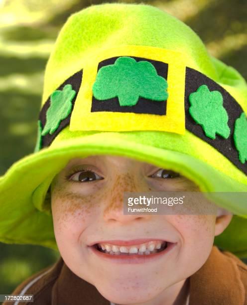 Irish Boy St. Patrick's Day Child Leprechaun Wearing Clover Hat