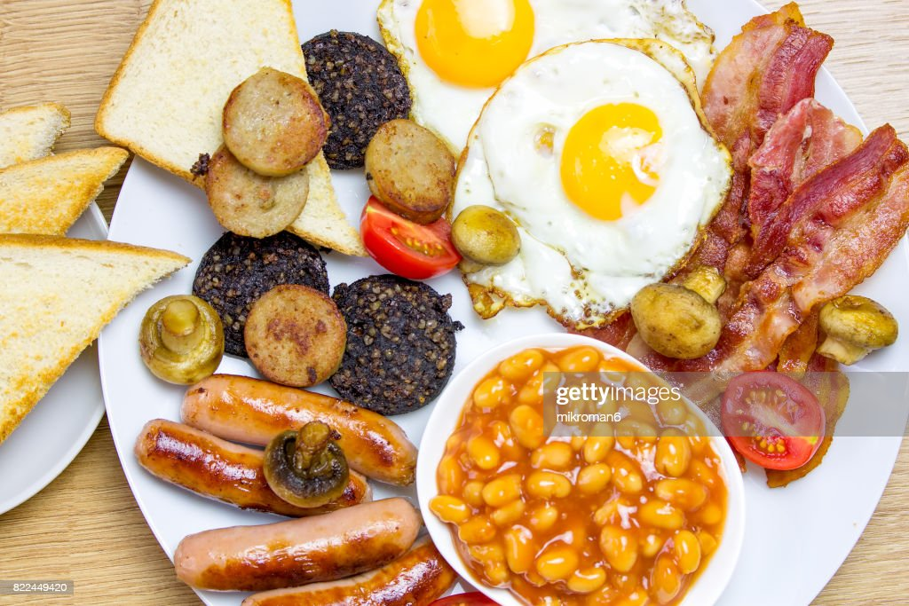 Irish breakfast on table prepared for eating close up : Stock Photo