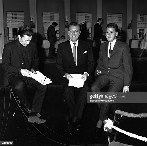 Irish broadcaster Eamonn Andrews , at a rehearsal for ITV's Royal Gala Show, with David Frost and Bernard Braden.