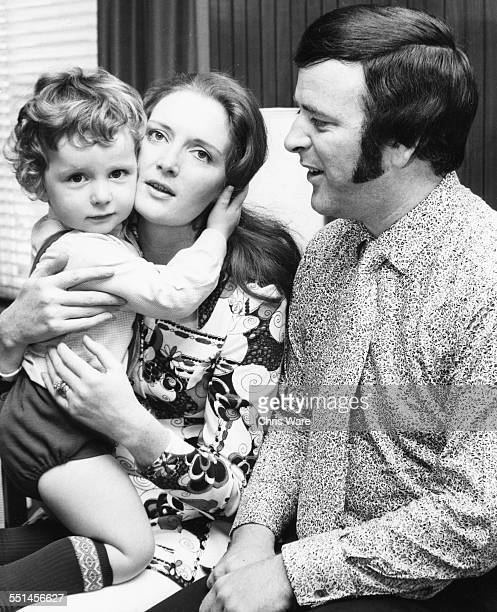 Irish broadcaster Terry Wogan with his wife Helen and baby son Alan circa 1975
