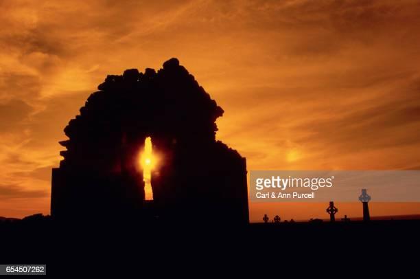 Irish Cemetery and Ruins at Sunset
