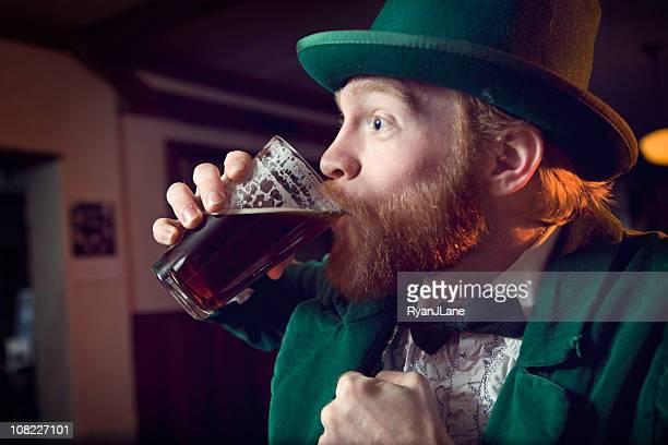 Irish Character / Leprechaun Chugging Beer