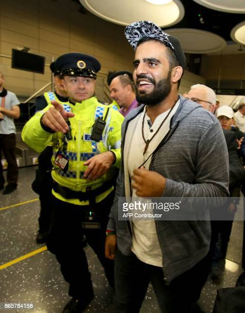 Irish citizen Ibrahim Halawa arrives at Dublin Airport on October 24 2017 following his release from detention in Egypt Halawa an Irish citizen...