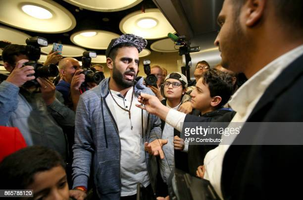 Irish citizen Ibrahim Halawa speaks to the press after arriving at Dublin Airport on October 24 2017 following his release from detention in Egypt...