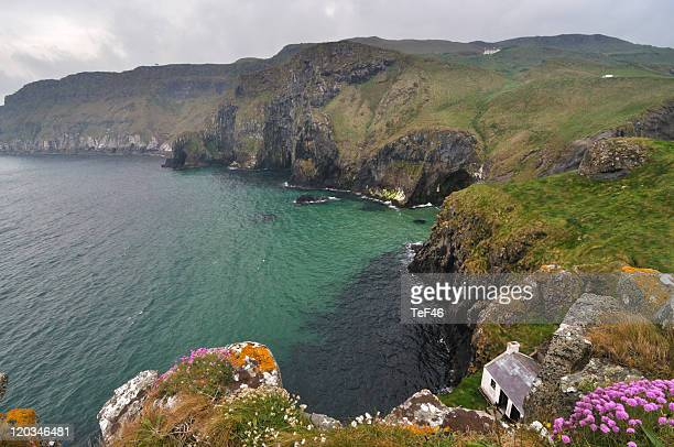 irish coast from carrick island - shack stock pictures, royalty-free photos & images