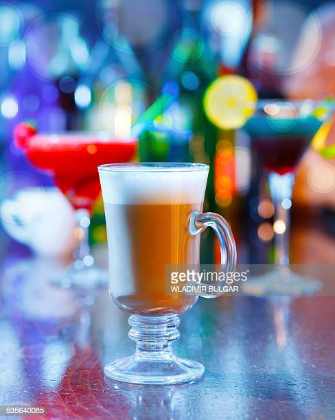 Irish coffee on a bar