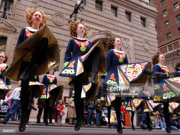Irish dancers from the Caitrin Academy of Skippack Pennsylvania perform during the 53rd Annual St Patrick's Day Parade March 14 2004 in Philadelphia...