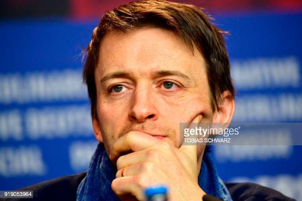 Irish director Lance Daly gestures during a press conference for the film 'Black 47' in competition during the 68th Berlinale film festival on...