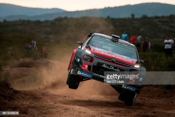 Irish driver Craig Breen steers his Citroen C3 WRC with his codriver Scott Martin from Great Britain during the shakedown of the WRC Argentina 2018...