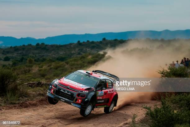 TOPSHOT Irish driver Craig Breen steers his Citroen C3 WRC with his codriver Scott Martin from Great Britain during the shakedown of the WRC...