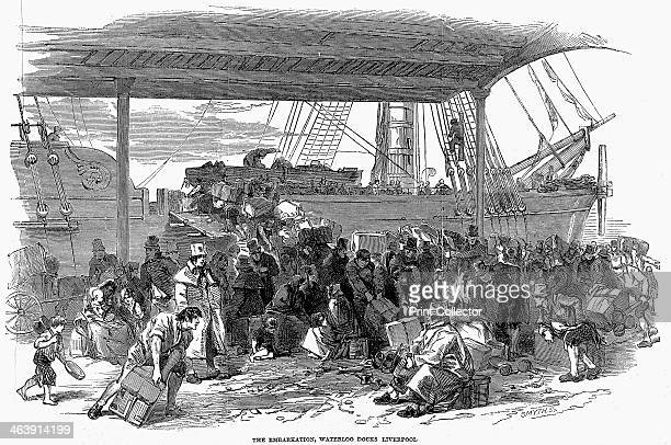 Irish emigrants embarking for America at Waterloo Docks, Liverpool, 1850. The failure of the Irish potato crop in the 1840s led to a devastating...