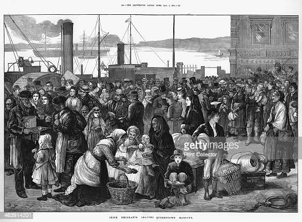 Irish emigrants leaving Queenstown the port for Cork for the United States 1874 Some are buying lastminute trinkets and good luck tokens A mixture of...