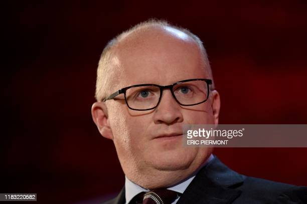 Irish European Central Bank's Chief Economist Philip Lane looks on during a conference at the Fortune Global Forum event in Paris on November 18,...