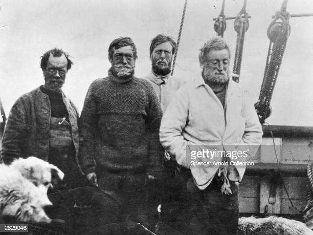 Irish explorer Sir Ernest Henry Shackleton in the southern party on board the vessel 'Nimrod' on their return voyage from the British Antarctic...