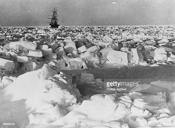 Irish explorer Sir Ernest Shackleton's ship SS Nimrod in the Antarctic pack ice