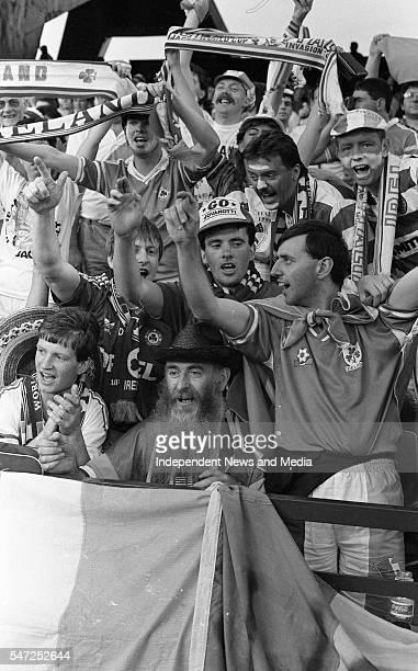 Irish fans at the World Cup Italia '90 Republic of Ireland v England in Stadio Sant'Elia Cagliari The result was England 1 Republic of Ireland 1