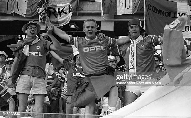 Irish fans at the World Cup Italia '90, Republic of Ireland v England in Stadio Sant'Elia, Cagliari. The result was England 1 - Republic of Ireland 1...