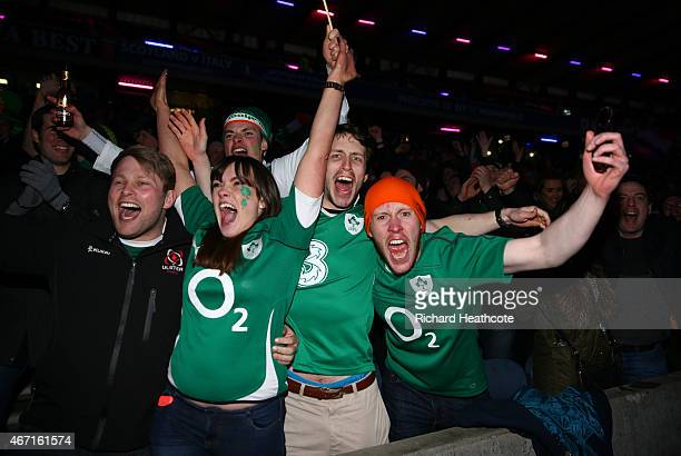 Irish fans celebrate victory after the England v France match after the RBS Six Nations match between Scotland and Ireland at Murrayfield on March 21...