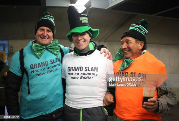 Irish fans wearing TShirts with a message for England coach Eddie Jones in the colour of the Irish flag during the six nations rugby match between...