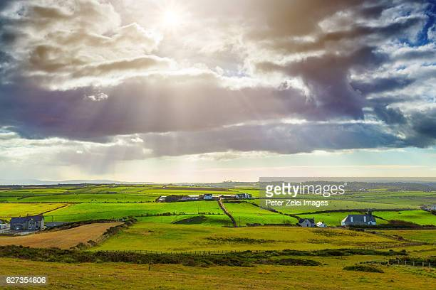 irish farms and pastures in county antrim, norther ireland - northern ireland stock pictures, royalty-free photos & images