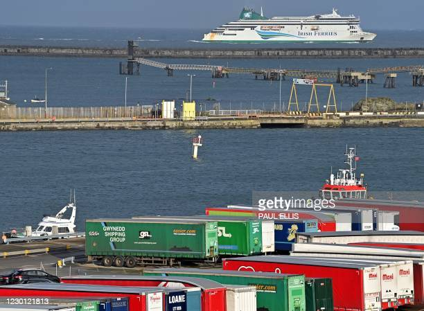 """Irish Ferries' Roll-on roll-off car ferry """"Ulysses"""" arrives from Dublin at the port in Holyhead, north-west Wales on December 14, 2020. - Food..."""