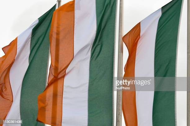 Irish flags seen in Dublin's city center ahead of St Patrick's Day 2019 celebrations On Wednesday March 13 in Dublin Ireland