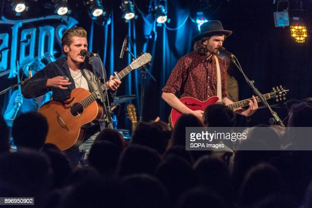 STREET DUBLIN DUBLIN IRELAND Irish Folk duo Alfie and Harry from Hudson Taylor perform in Whelans on Wexford Street