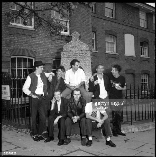 Irish folkpunk group The Pogues outside the Rak recording studio in St John's Wood London 9th March 1989 Standing left to right Spider Stacy Andrew...