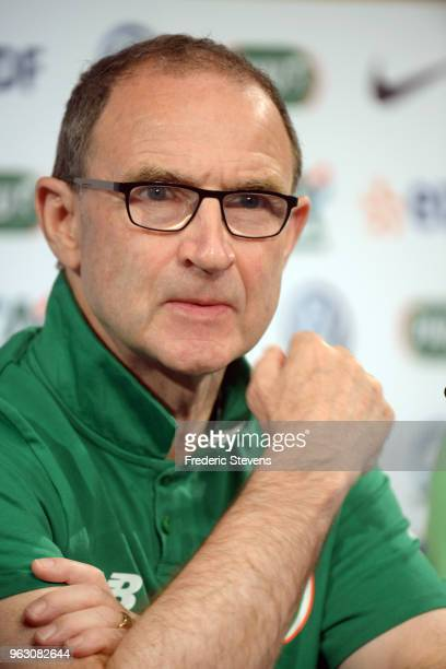 Irish football Coach Martin O'Neill attends a press conference ahead of the friendly match between France and Ireland at the Stade de France on May...