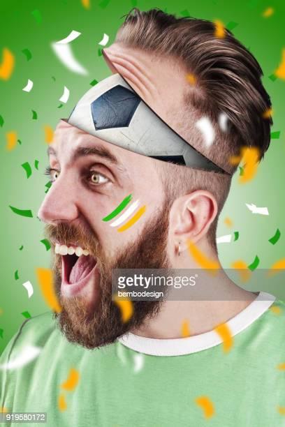 Irish football fan with football inside the head