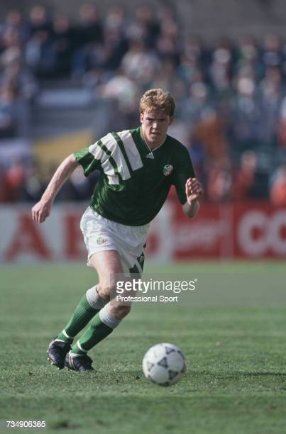 Irish footballer and defender with the Republic of Ireland team Steve Staunton makes a run with the ball during the FIFA World Cup group 3 qualifying...