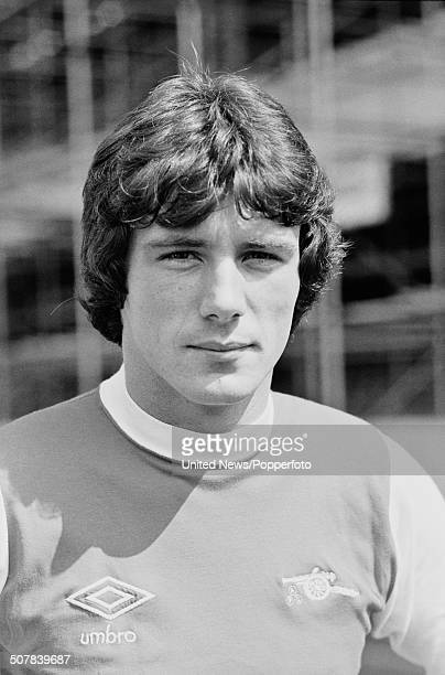 Irish footballer and forward for Arsenal Frank Stapleton posed on the pitch at Highbury stadium in London on 17th July 1979