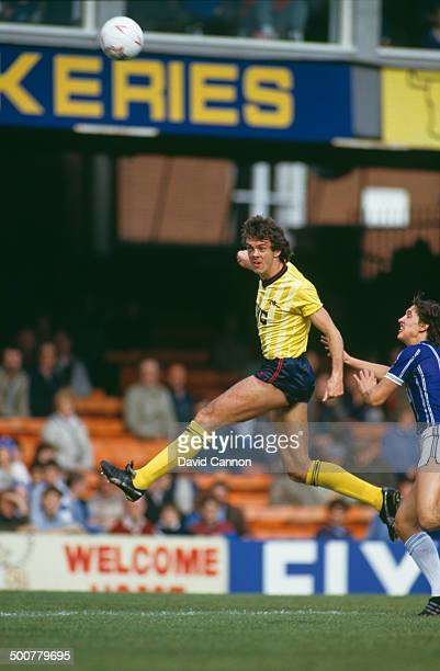 Irish footballer David O'Leary of Arsenal during an English Division One match against Leicester City at the Filbert Street stadium Leicester 13th...