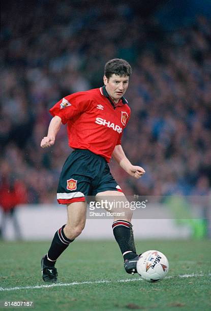 Irish footballer Denis Irwin playing for Manchester United against Manchester City in an English Premier League match at Maine Road Manchester 11th...