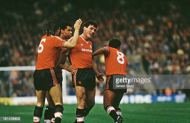 Irish footballer Frank Stapleton is congratulated by fellow Manchester City players after he scored in a League Division One match against Manchester...