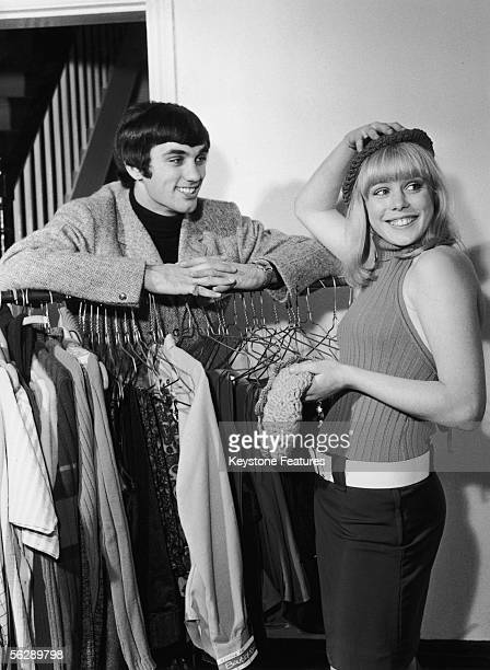 Irish footballer George Best of Manchester United with actress Sue Whitman at the 'Best Boutique' a clothes shop owned by the soccer star in Sale...