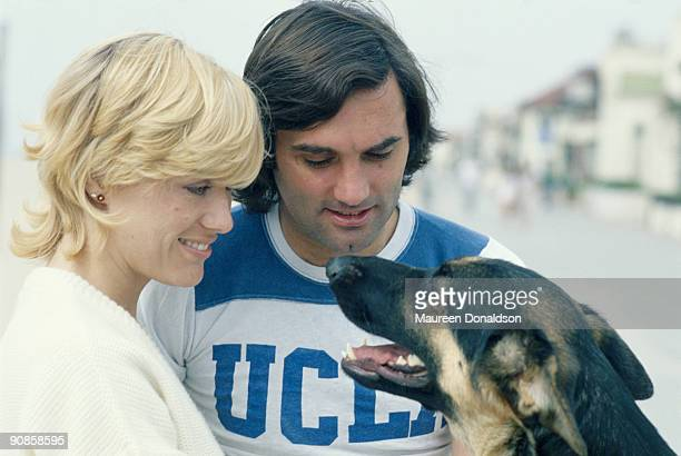Irish footballer George Best with his wife Angie, circa 1980.