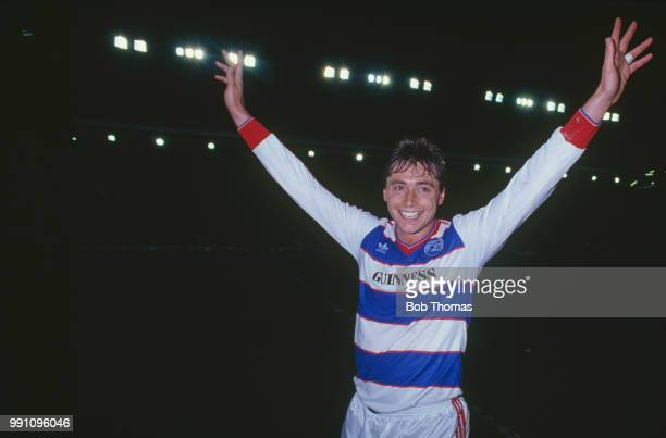 Irish footballer Michael Robinson of Queen's Park Rangers celebrates after the Football League Cup SemiFinal 2nd leg against Liverpool at Anfield...
