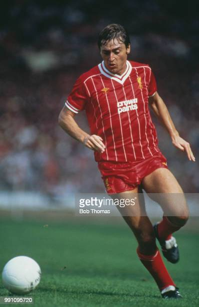 Irish footballer Michael Robinson on the ball for Liverpool in the 1983 FA Charity Shield match against Manchester United at Wembley London 20th...