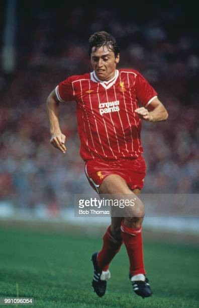 Irish footballer Michael Robinson on the field for Liverpool in the 1983 FA Charity Shield match against Manchester United at Wembley London 20th...
