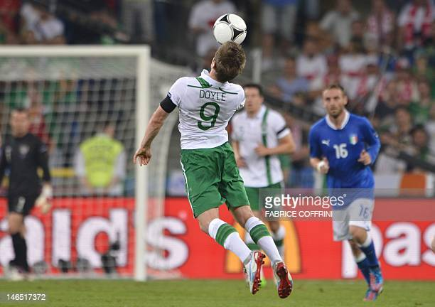 Irish forward Kevin Doyle controls the ball during the Euro 2012 football championships match Italy vs Republic of Ireland on June 18 2012 at the...