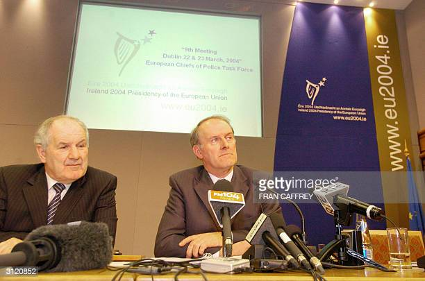 Irish Garda Commissioner Noel Conroy sits with Charles Elsen Director General of Council secretariat during a press conference at the European Chiefs...