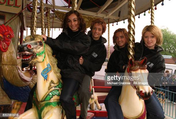 Irish girl pop band Bewitched at Drayton Manor Park in Staffordshire LR Lindsay Armaou Keavy Jane Lynch Edele Lynch and Sinead O'Carroll
