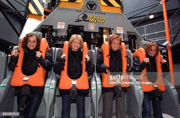 Irish girl pop band BeWitched before braving the new Apocalypse free fall ride at its launch at Drayton Manor Park in Staffordshire LR Lindsay...