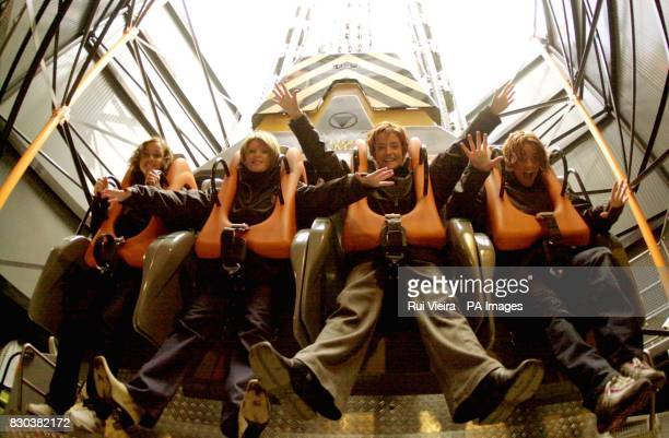 Irish girl pop band Bewitched enjoy the new Apocalypse free fall ride during its launch at Drayton Manor Park in Staffordshire LR Lindsay Armaou...
