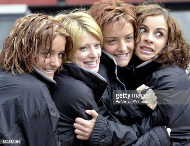 Irish girl pop band Bewitched huddle in fear before braving the new Apocalypse free fall ride at its launch at Drayton Manor Park in Staffordshire LR...