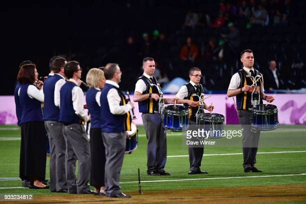 Irish group Bagad Kemper provide music for St Patrick's Day before the Top 14 match between Racing 92 and Stade Francais at U Arena on March 17 2018...