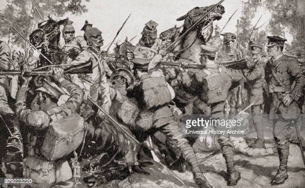 Irish Guards beat back a German cavalry charge with bayonets during WWI. From The War Illustrated Album Deluxe, published 1915.