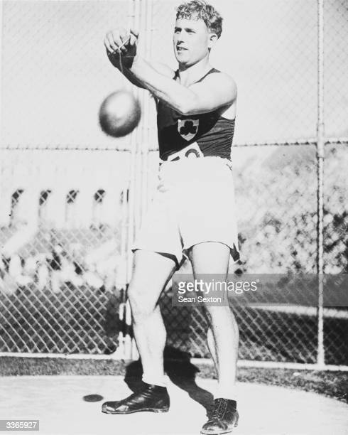 Irish hammer thrower Pat O'Callaghan competing in the 1932 Los Angeles Olympics. In 1928 O'Callaghan was the first citizen of the Irish Free State to...