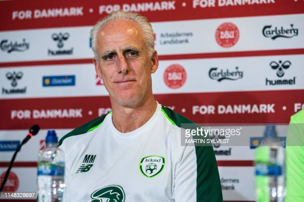 Irish headcoach Mick McCarthy addresses a press conference on the eve of the UEFA Euro 2020 qualifier Group D football match Denmark against Ireland...